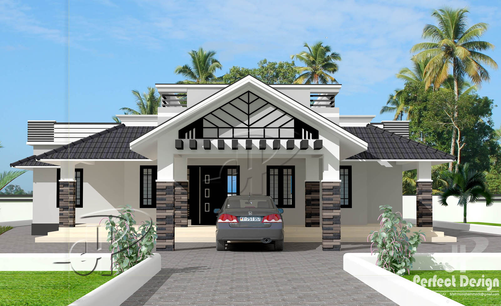 This home plan is designed to be built in 1592 square feet 148 square meter this house have porchsit out3 bedrooms2 attached bath living