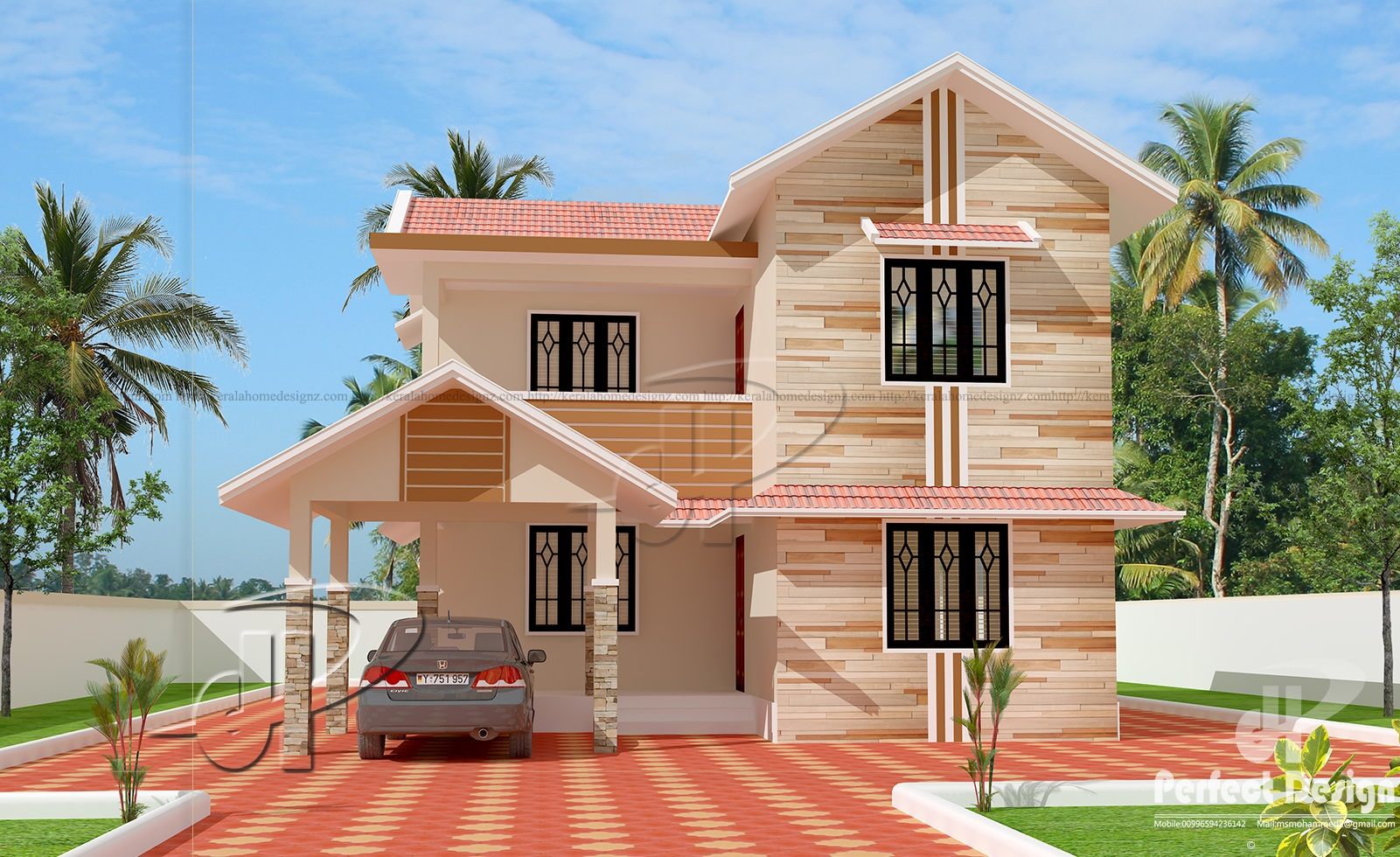 1666 sq ft double floor home kerala home design for Kerala house design double floor