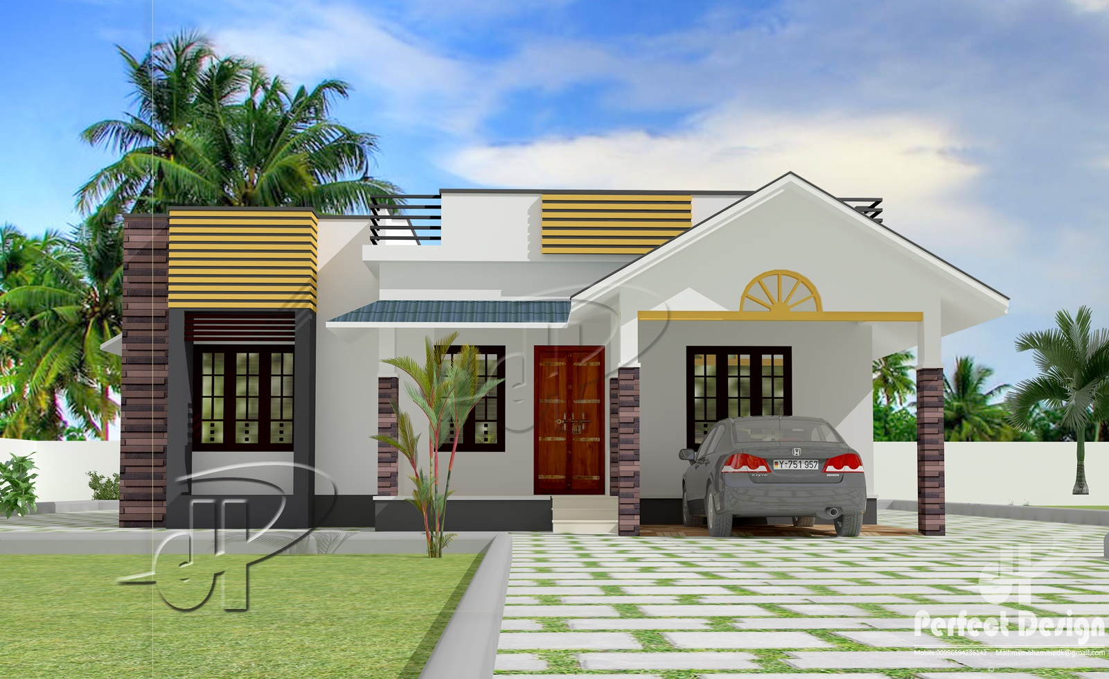 This home plan is designed to be built in 1087 square feet 101 square meter this house have porchsit out3 bedrooms1 attached bath1 common bath