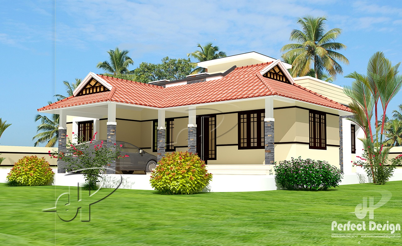 1086 sq ft single floor home kerala home design for One floor farmhouse plans