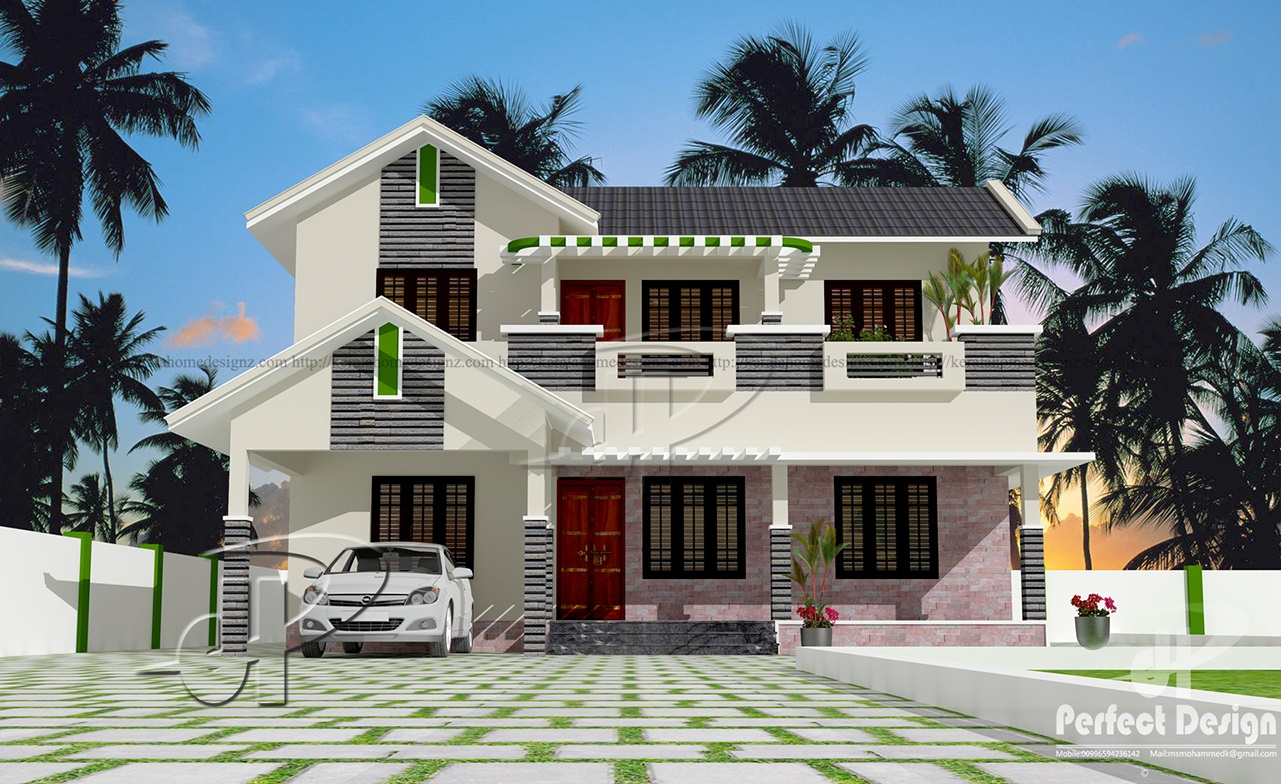 1936 sq ft double floor home kerala home design for Kerala house design double floor