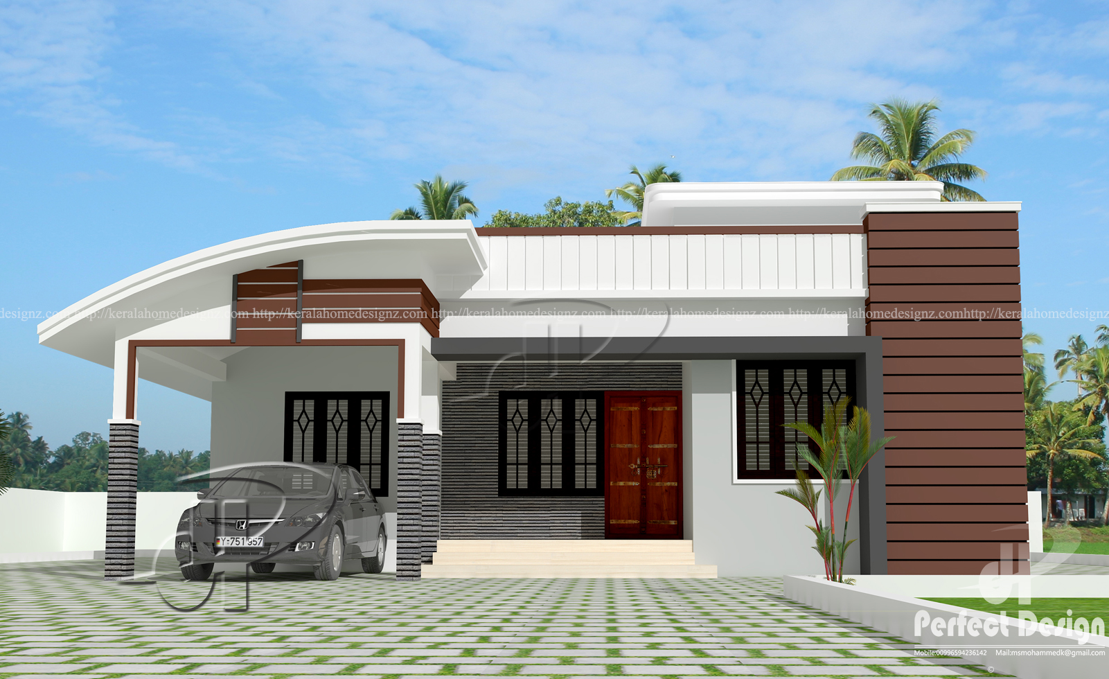 1000 sq ft modern single floor home kerala home design for Modern single floor house designs