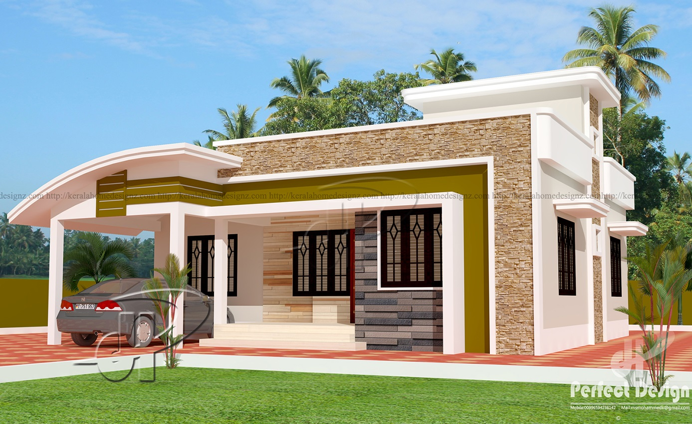 1000 sq ft single floor home kerala home design for One floor house exterior design