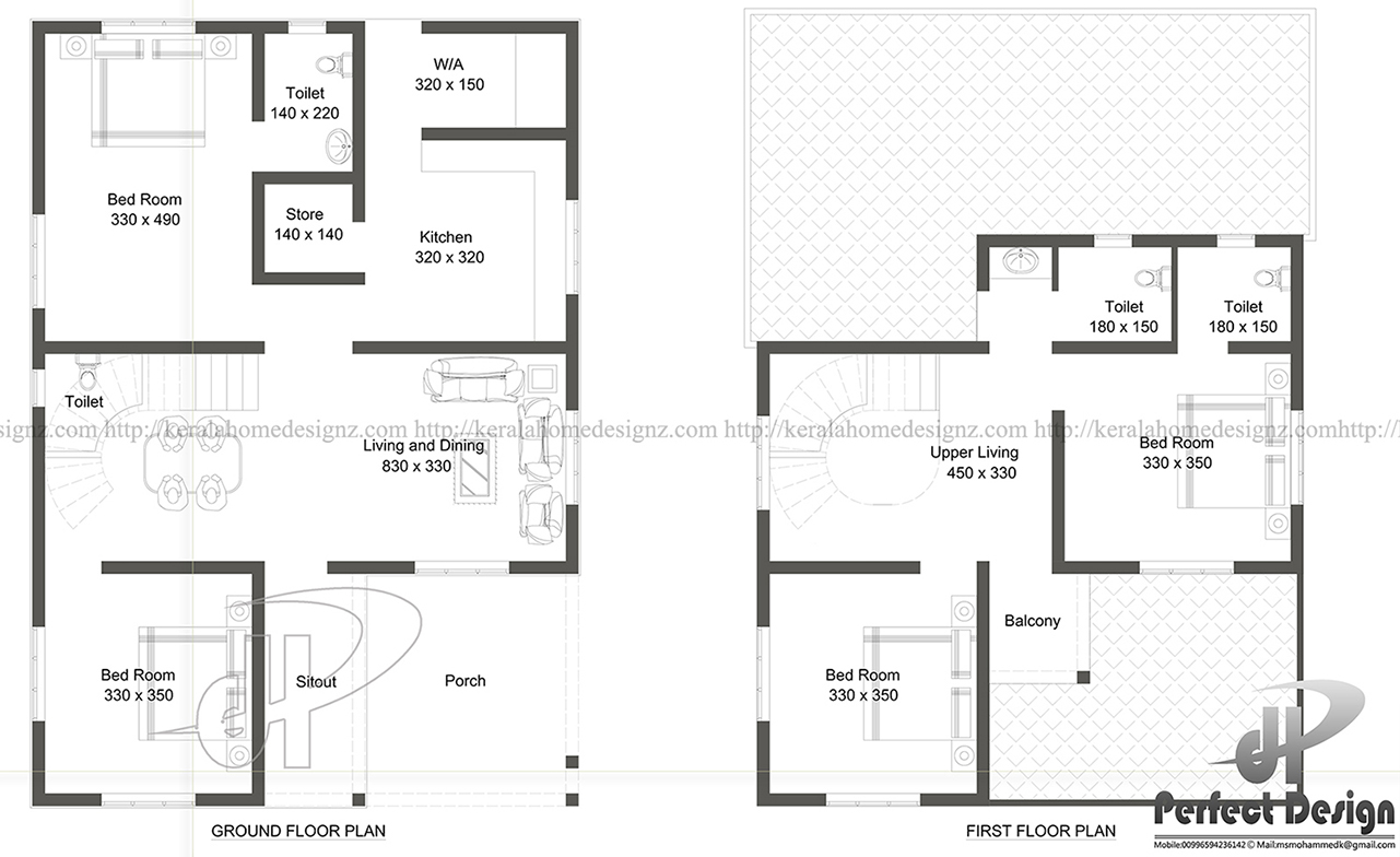 1529 sq ft double floor home kerala home design for 150 square meters house floor plan