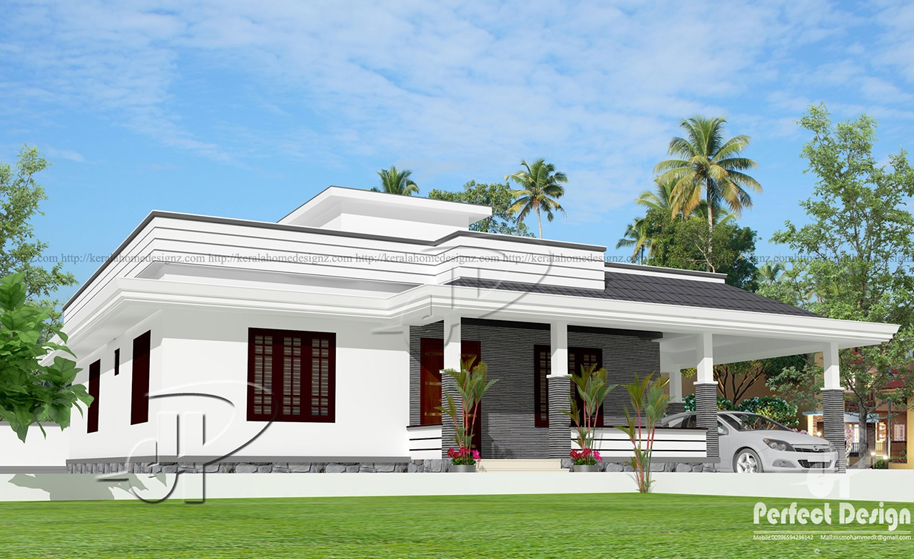 1280 sq ft single floor home kerala home design for Single floor house plans kerala style