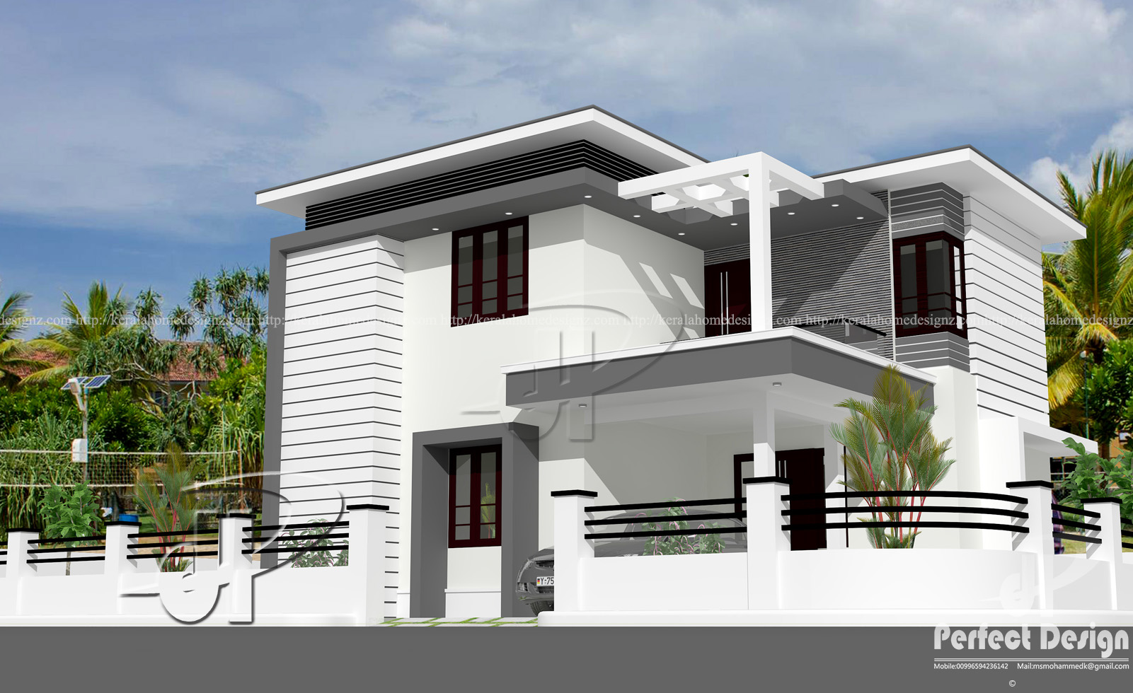 1442 sq ft modern double floor home kerala home design for Modern home design 1 floor