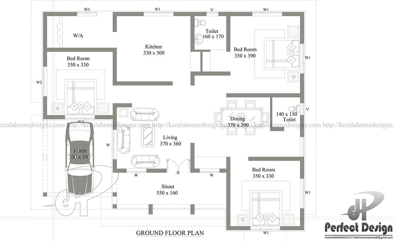 1290 sq ft contemporary home kerala home design for 150 square meters house floor plan