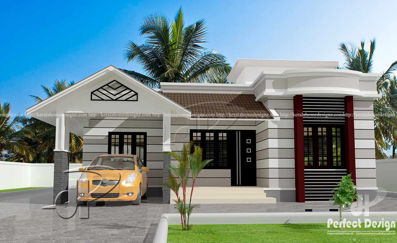 796 sq ft beautiful home kerala home design for One story house design in the philippines
