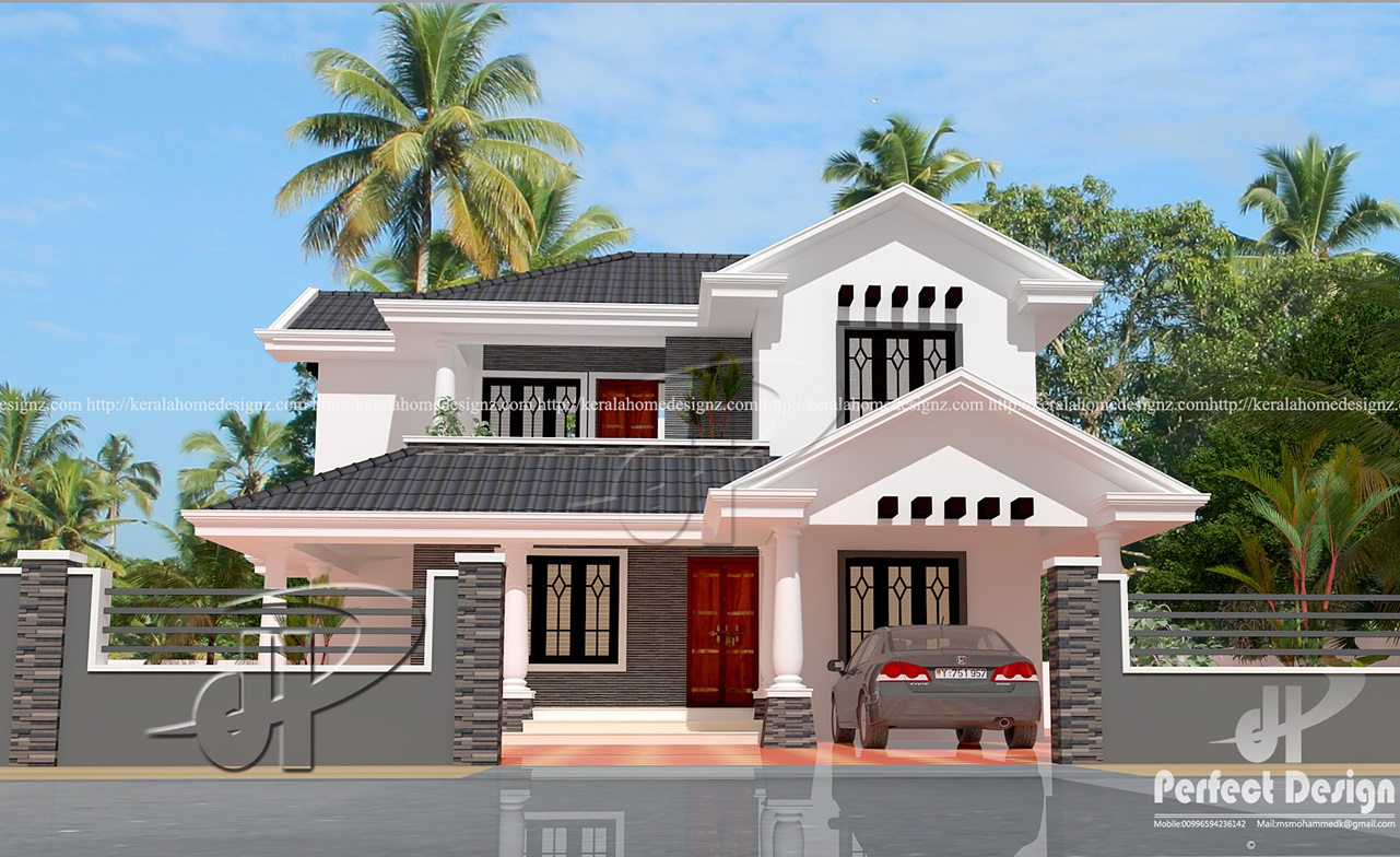 1818 sq ft traditional sloped roof house kerala home design for Sloped roof house plans in india