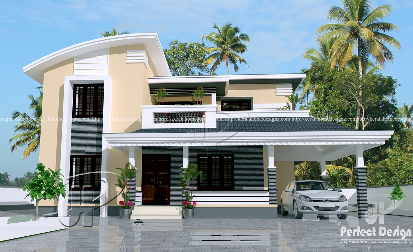 1884 sq ft contemporary home kerala home design for Home house design