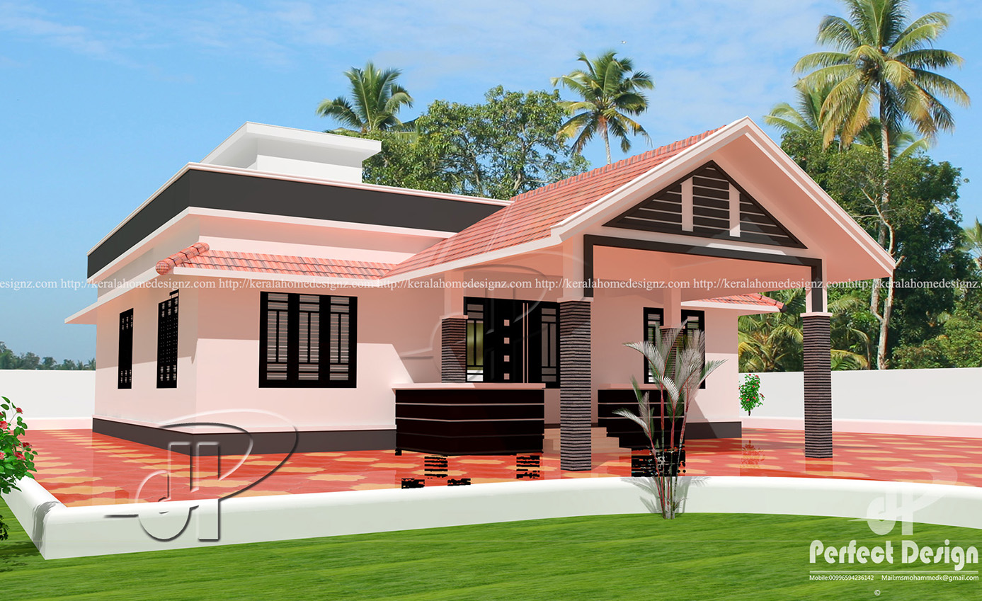 1055 sq ft single floor home kerala home design for Simple house plans kerala model