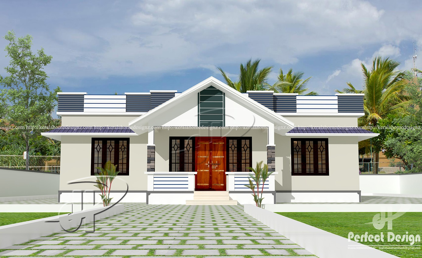 1182 sq ft modern single floor home kerala home design for One floor farmhouse plans
