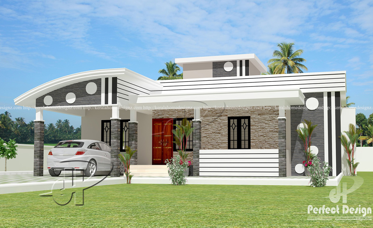 1152 sq ft modern single floor home kerala home design for Modern house design single floor