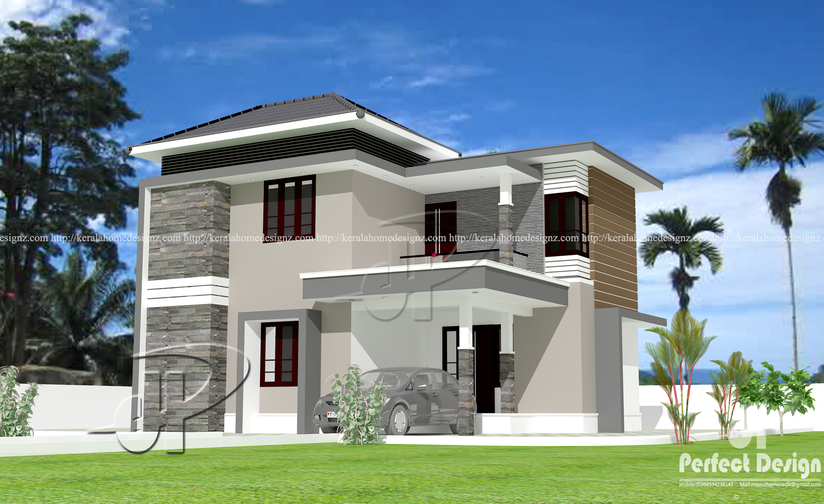 1442 sq ft double floor home kerala home design for Kerala house design double floor