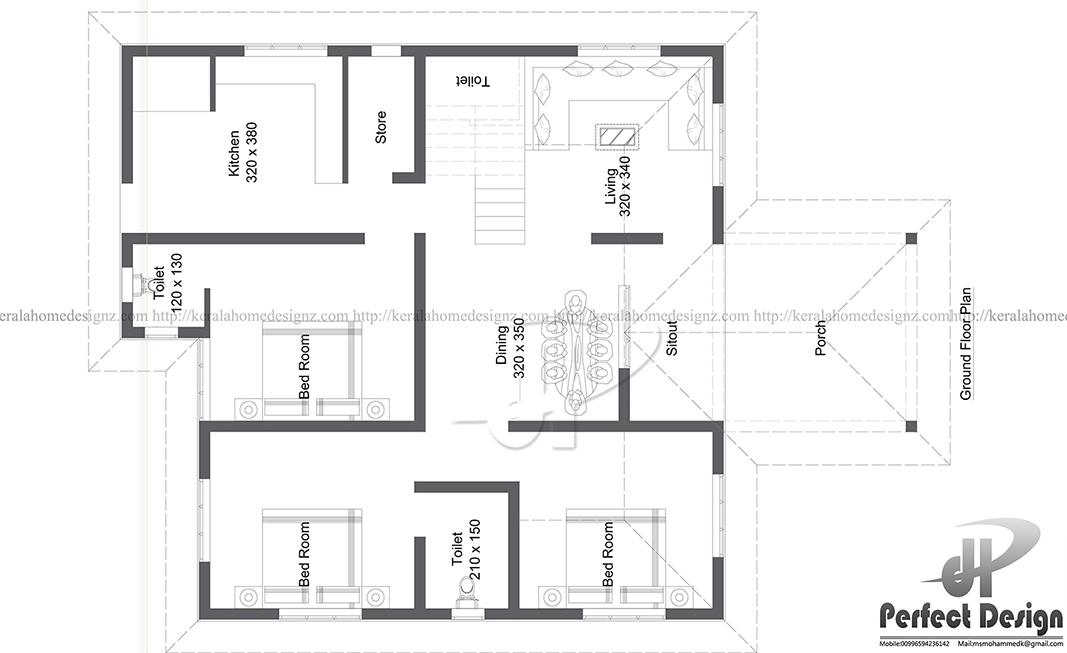 1150 sq ft single floor home kerala home design for 1150 sq ft house plans