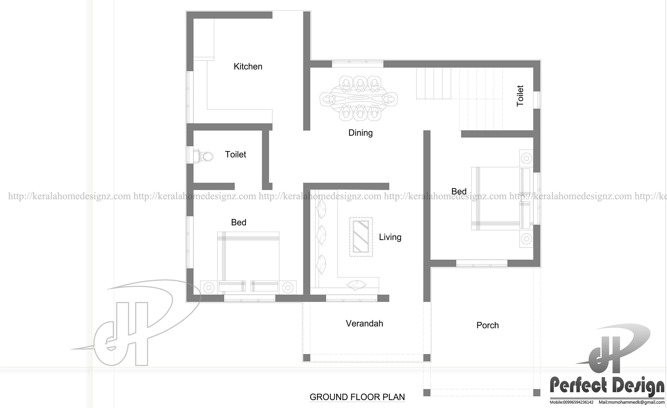 862 sq ft single floor home design kerala home design Ground floor house plans