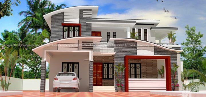 1635 sq ft modern double floor home - Home Design Kerala