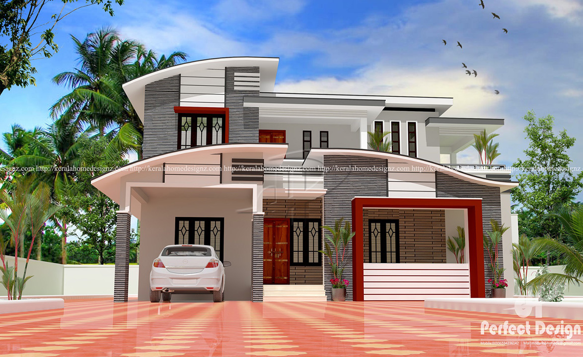 Contemporary Home Designs At Malappuram Part - 50: 1635 SQ FT MODERN DOUBLE FLOOR HOME