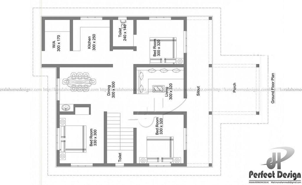 1184 Sq Ft 3 Bed Room Home Kerala Home Design