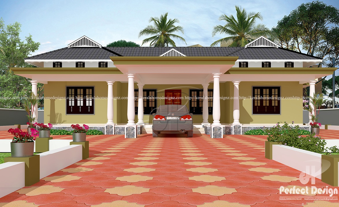 3 bedroom tradition kerala home kerala home design for Single storey 3 bedroom house plans in kerala