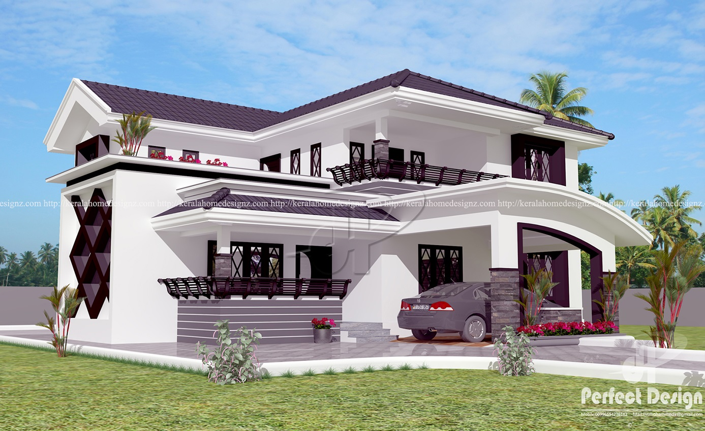 Modern 4 bedroom home design kerala home design for 4 bedroom house plans kerala style architect