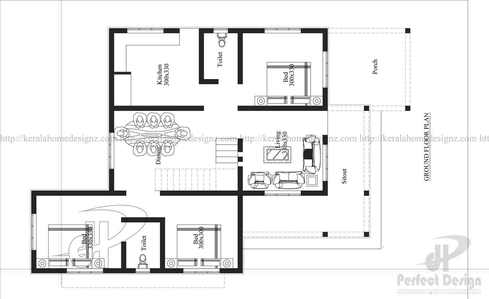 3 bedroom modern flat roof house layout kerala home design for Three bedroom flat plan