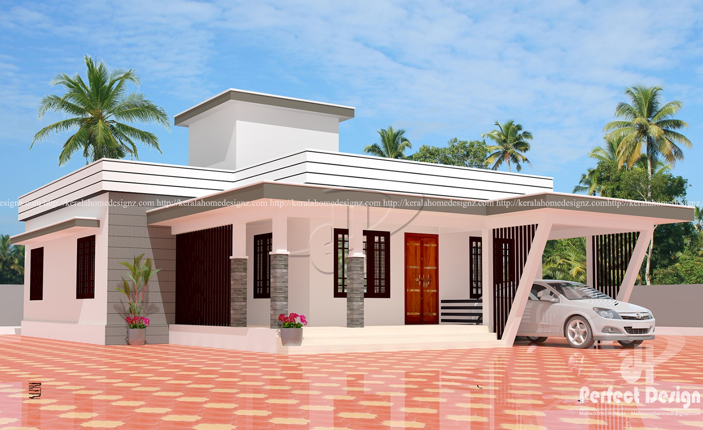 3 bedroom modern flat roof house layout kerala home design for Modern 3 bedroom house plans and designs