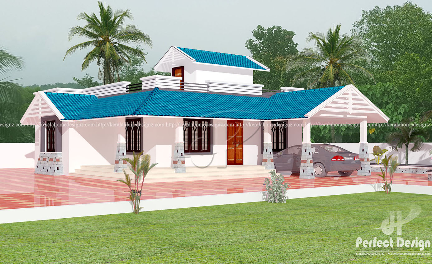 Kerala style single floor home design kerala home design for Single house design