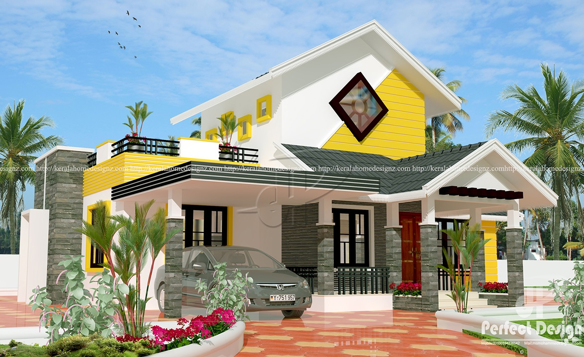 3 bedroom single storey budget house kerala home design for Kerala home style 3 bedroom