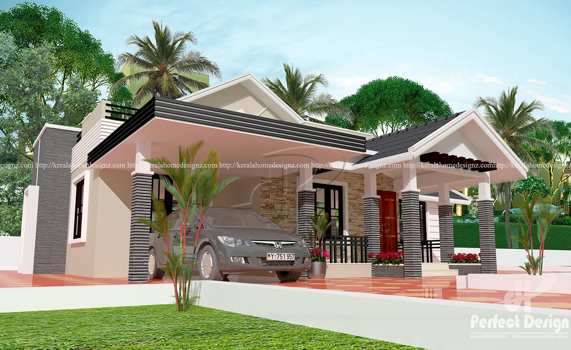 3 bedroom contemporary home design kerala home design for Low budget modern 3 bedroom house design