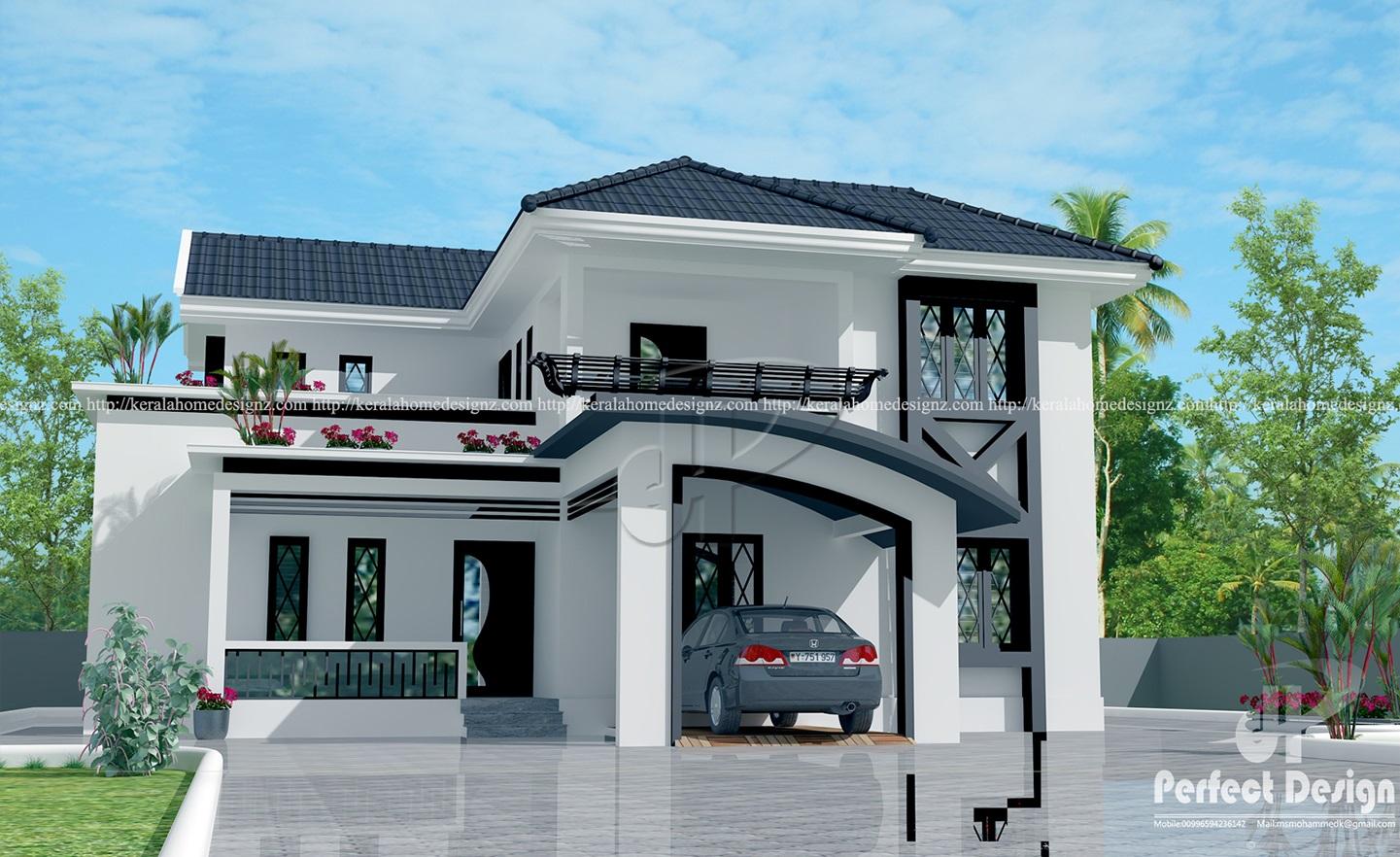 Modern mixed roof home design kerala home design for Car porch design in kerala