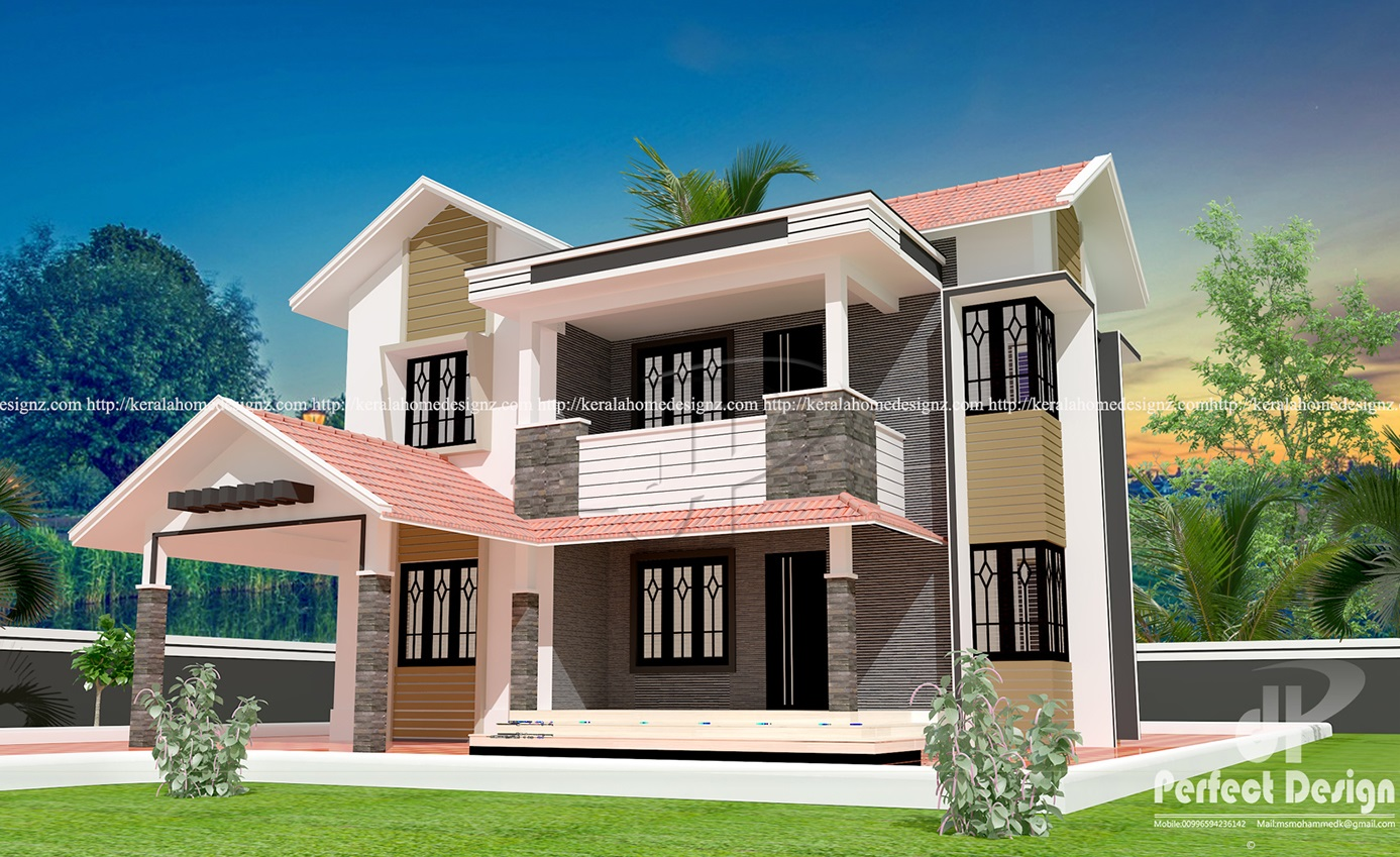 Modern double floor home designs kerala home design for Home designs double floor