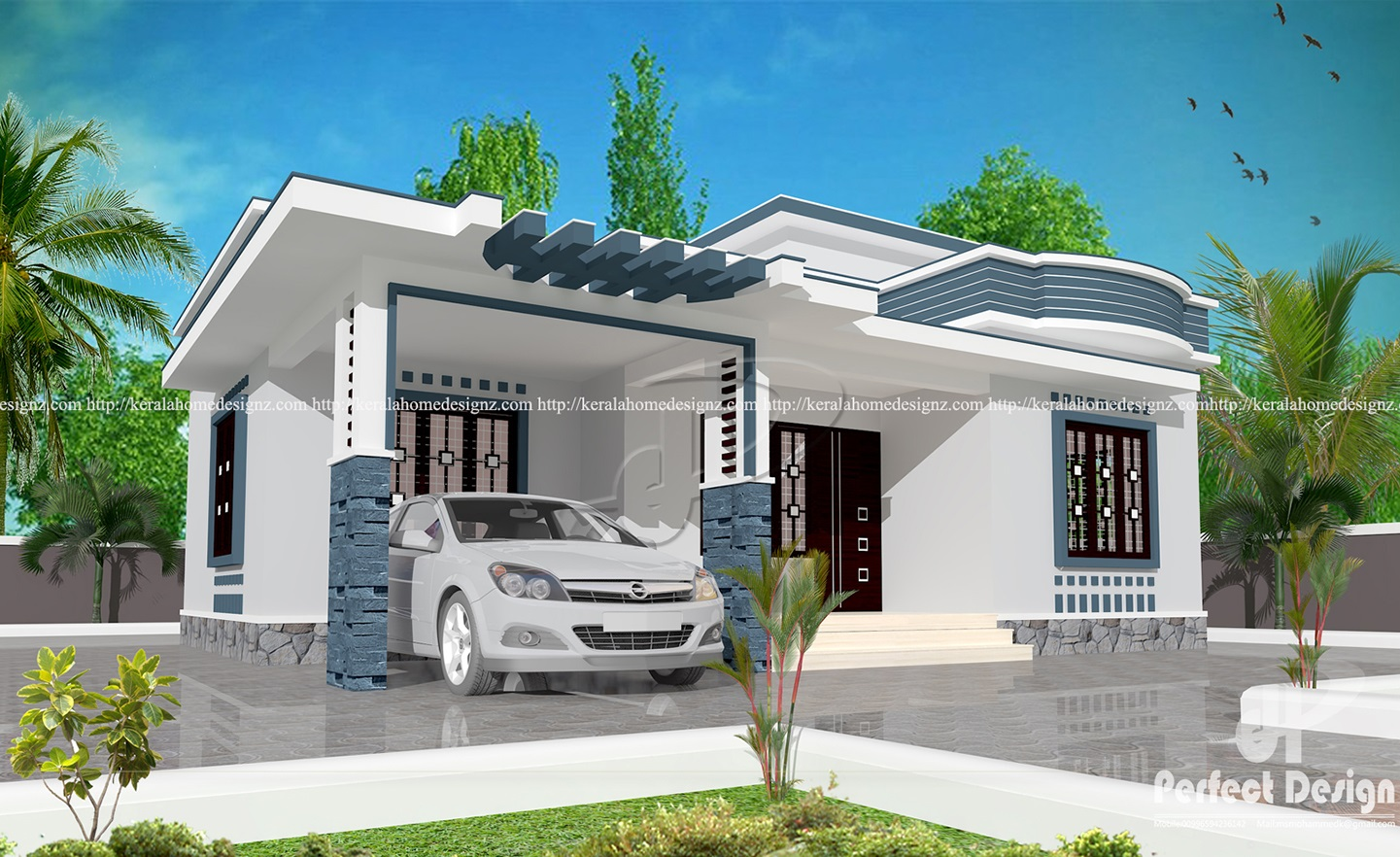 10 lakhs cost estimated modern home kerala home design for Low cost house plans with estimate
