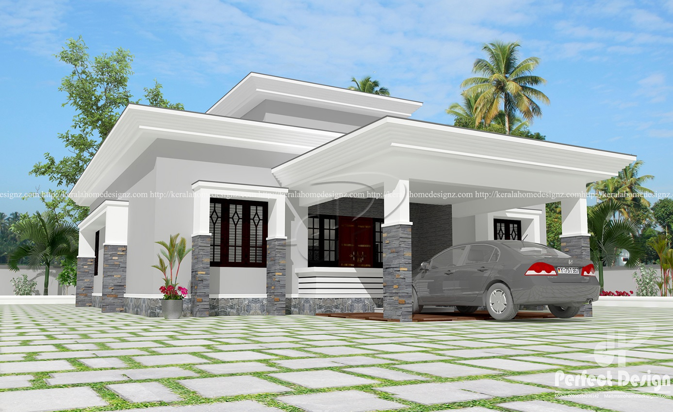 Flat roof single floor home kerala home design for New house designs and prices
