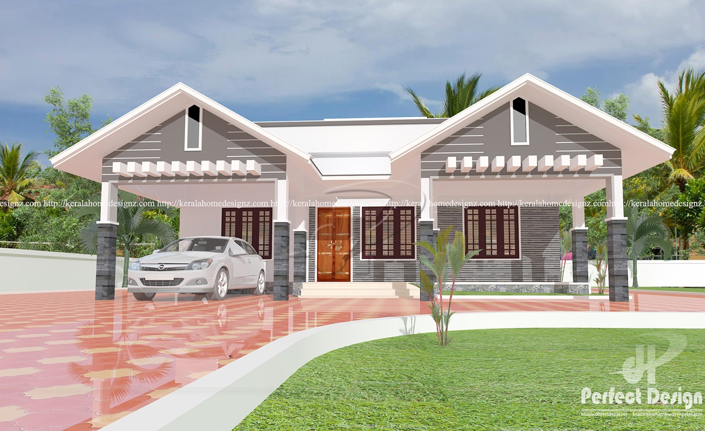 Modern single floor home design kerala home design for Modern home design 1 floor