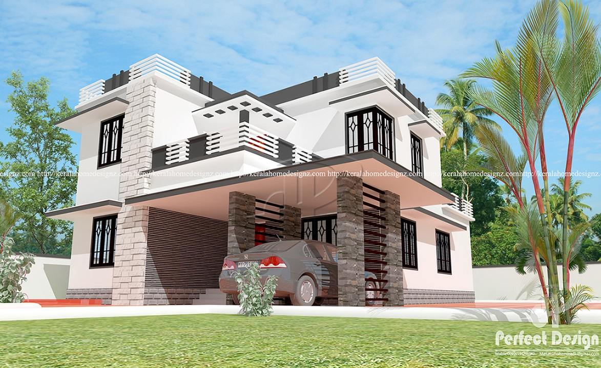 4 Bedrooms Flat Roof House Kerala Home Design