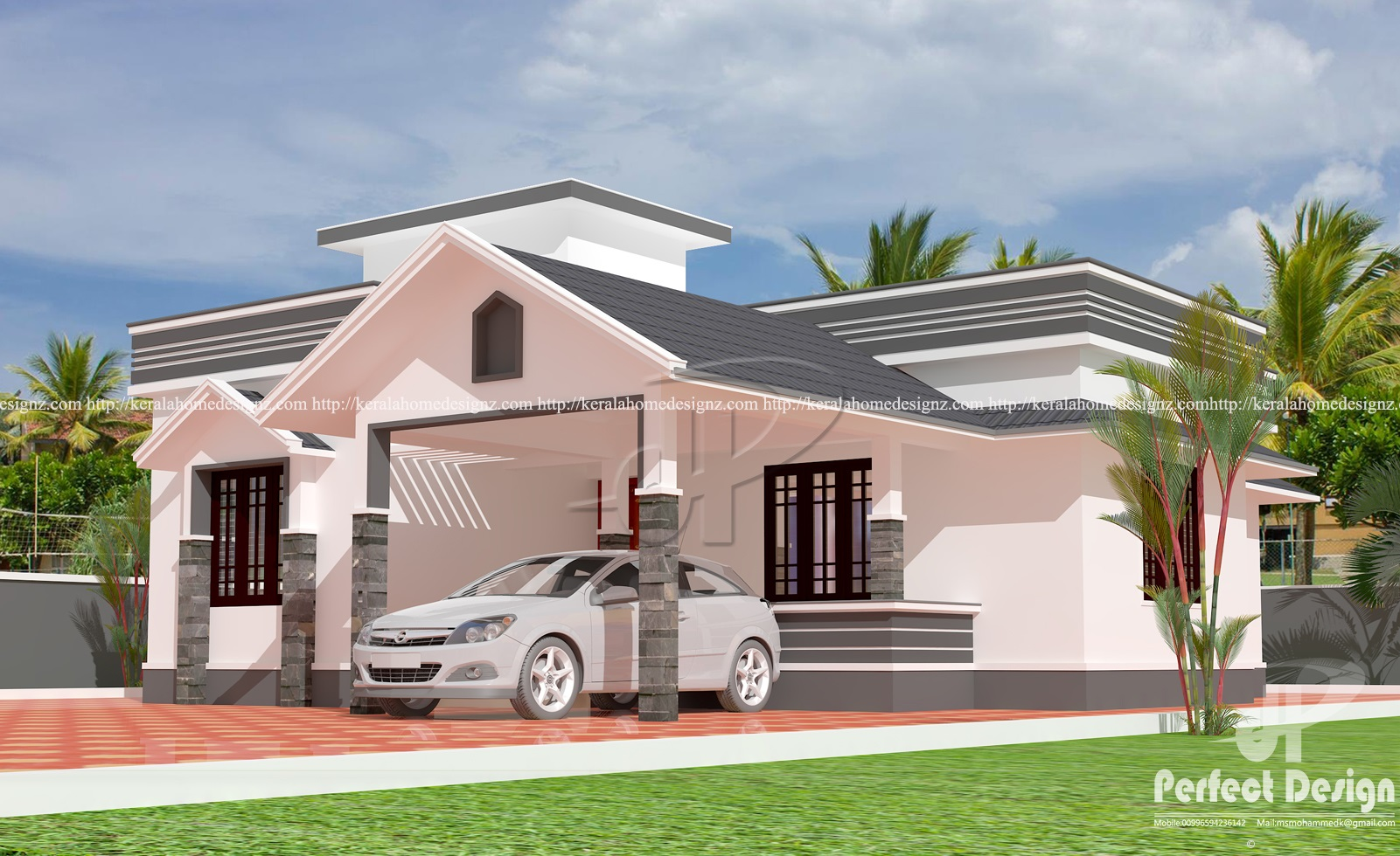 Sloped roof single floor home kerala home design for Single floor house plans kerala style