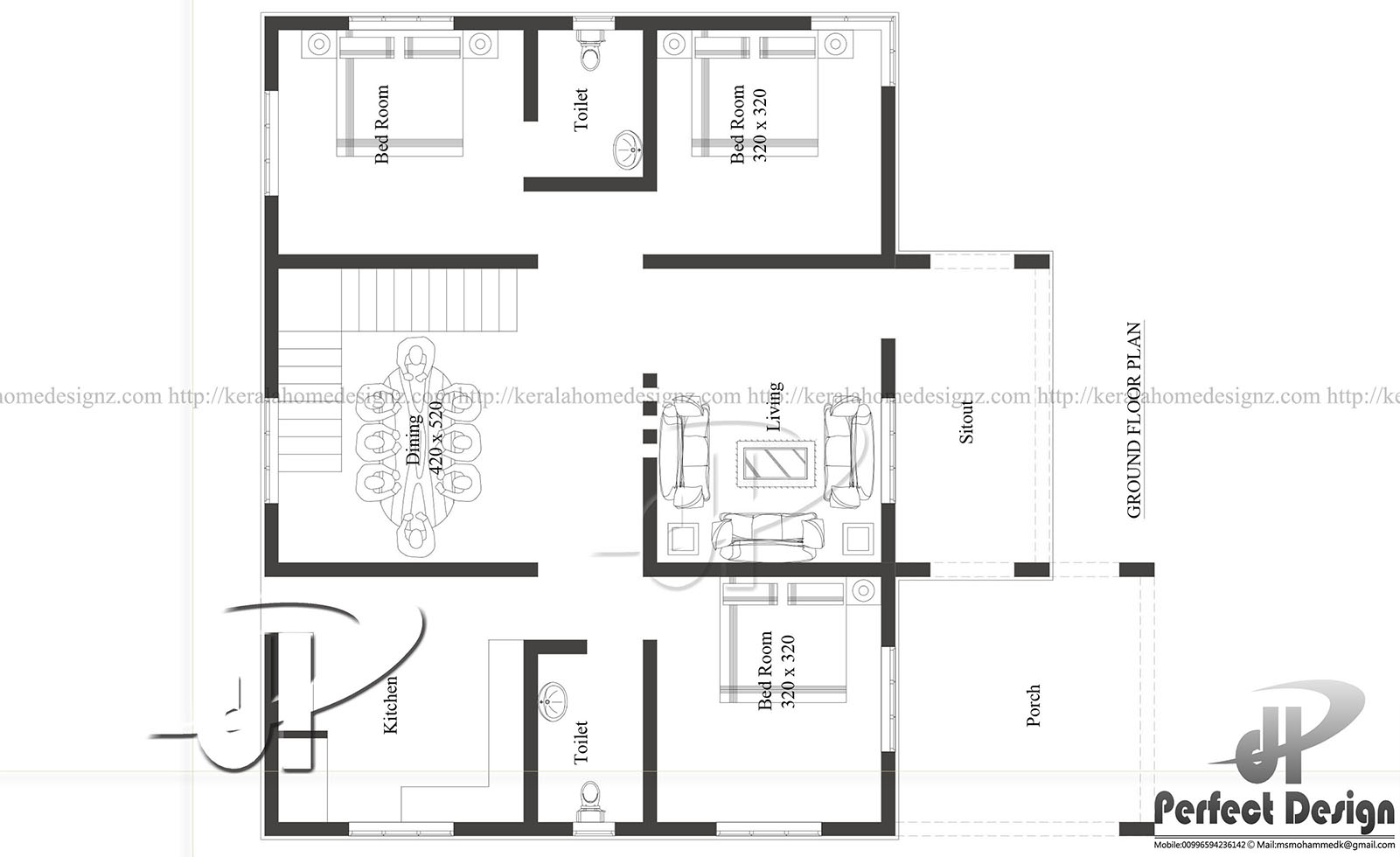 Wonderful 1129 Sq Ft Single Floor Home Part - 14: Ground Floor Is Designed In 105 Square Meter(1129 Sq.Ft)