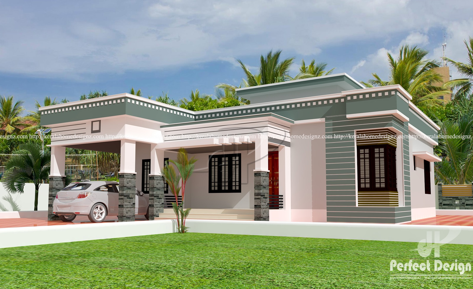 3 bed room modern single floor home kerala home design for Single floor house