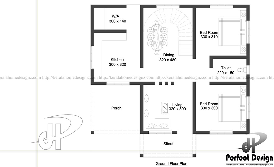 Beautiful house under 900 square feet Kerala Home Design – 300 Square Meter House Floor Plans