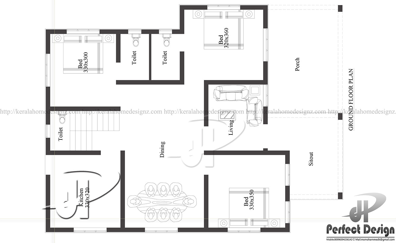 Amazing 1129 Sq Ft Single Floor Home Part - 11: Ground Floor Is Designed In 105 Square Meter(1129 Sq.Ft)