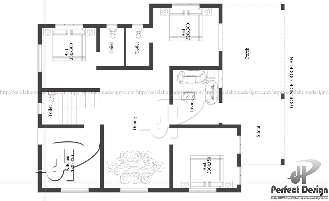 Amazing 1129 Sq Ft Single Floor Home Part - 11: Ground Floor Is Designed In 105 Square Meter(1129 Sq.Ft)