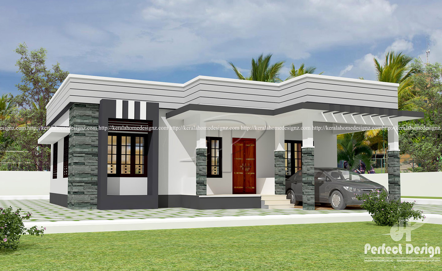 1044 sq ft contemporary home design kerala home design for New house cost