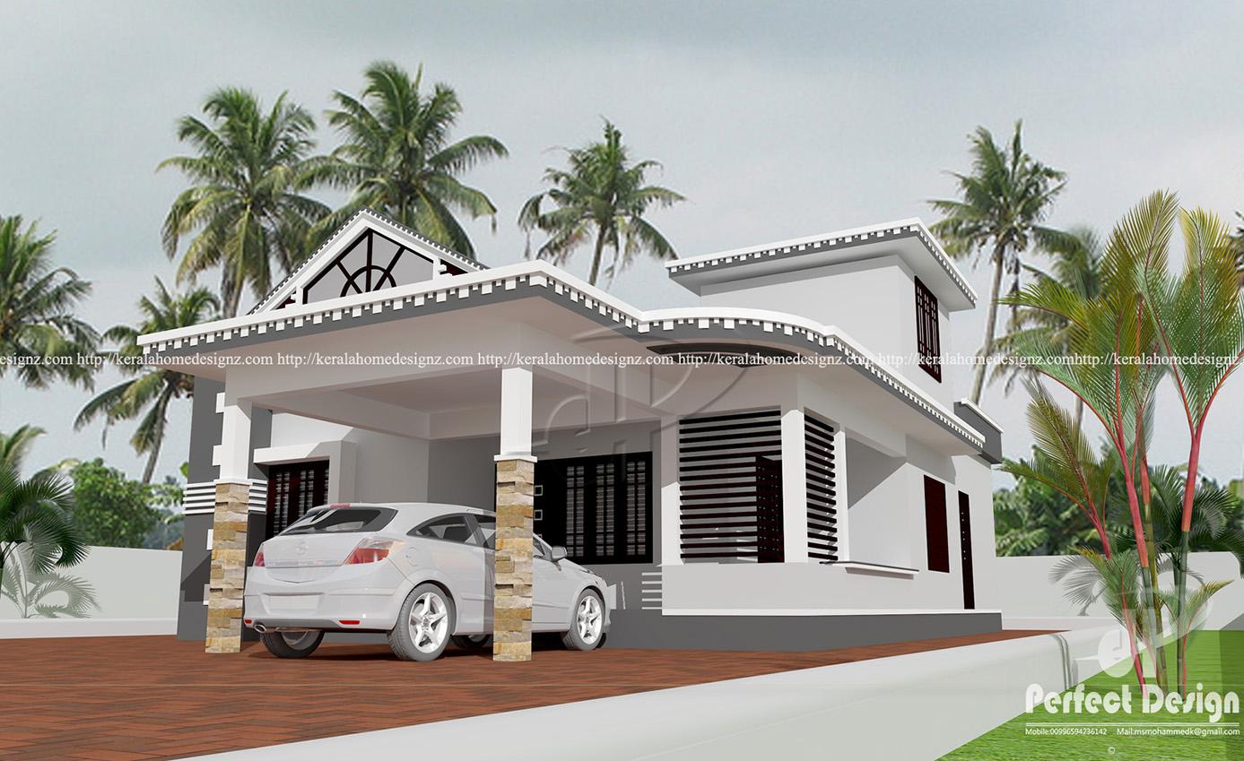Single floor 2 bedroom cute home kerala home design for Car porch design in kerala