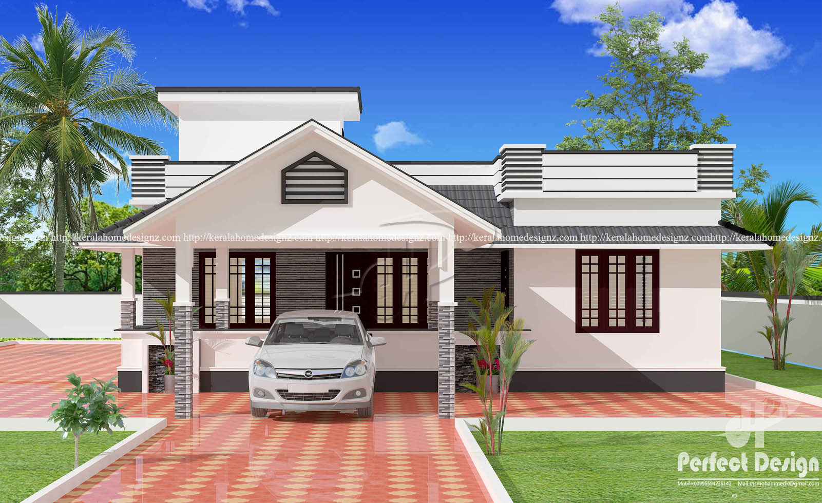 1153 sq ft single floor 3 bedroom house kerala home design for 3 bedroom design