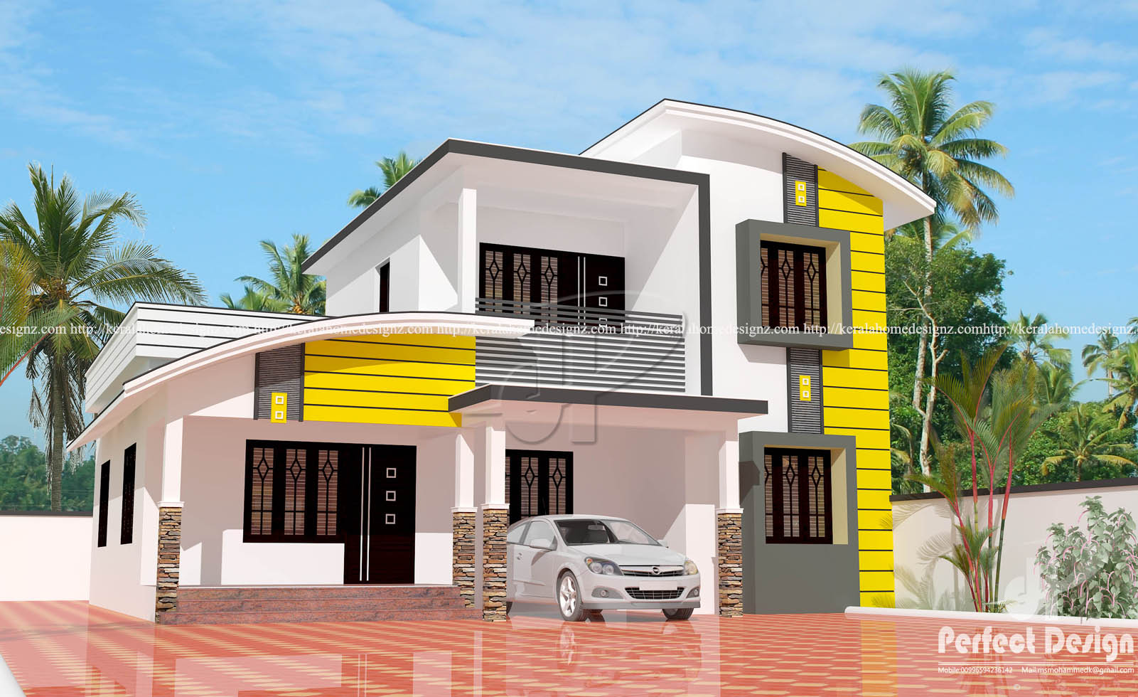 Mixed roof ultra modern villa design kerala home design for Villa ultra moderne