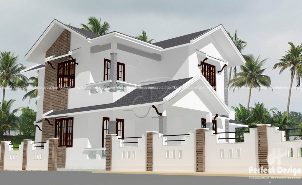Double floor colonial style home kerala home design for Colonial style house plans kerala