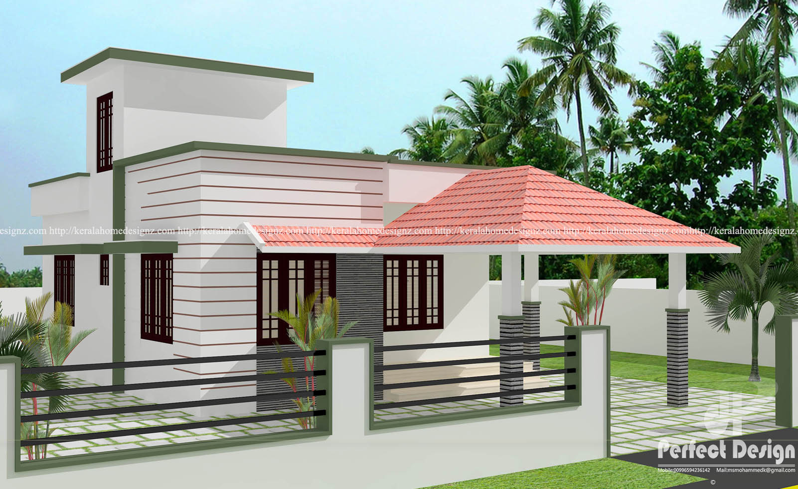 Small Sloping Roof Single Floor Home Kerala Home Design