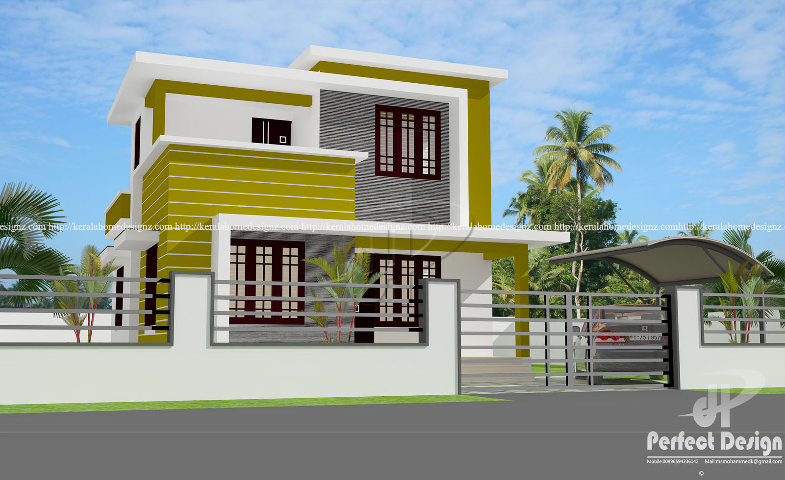 1215 sq ft double floor home design kerala home design for Kerala home designs photos in double floor