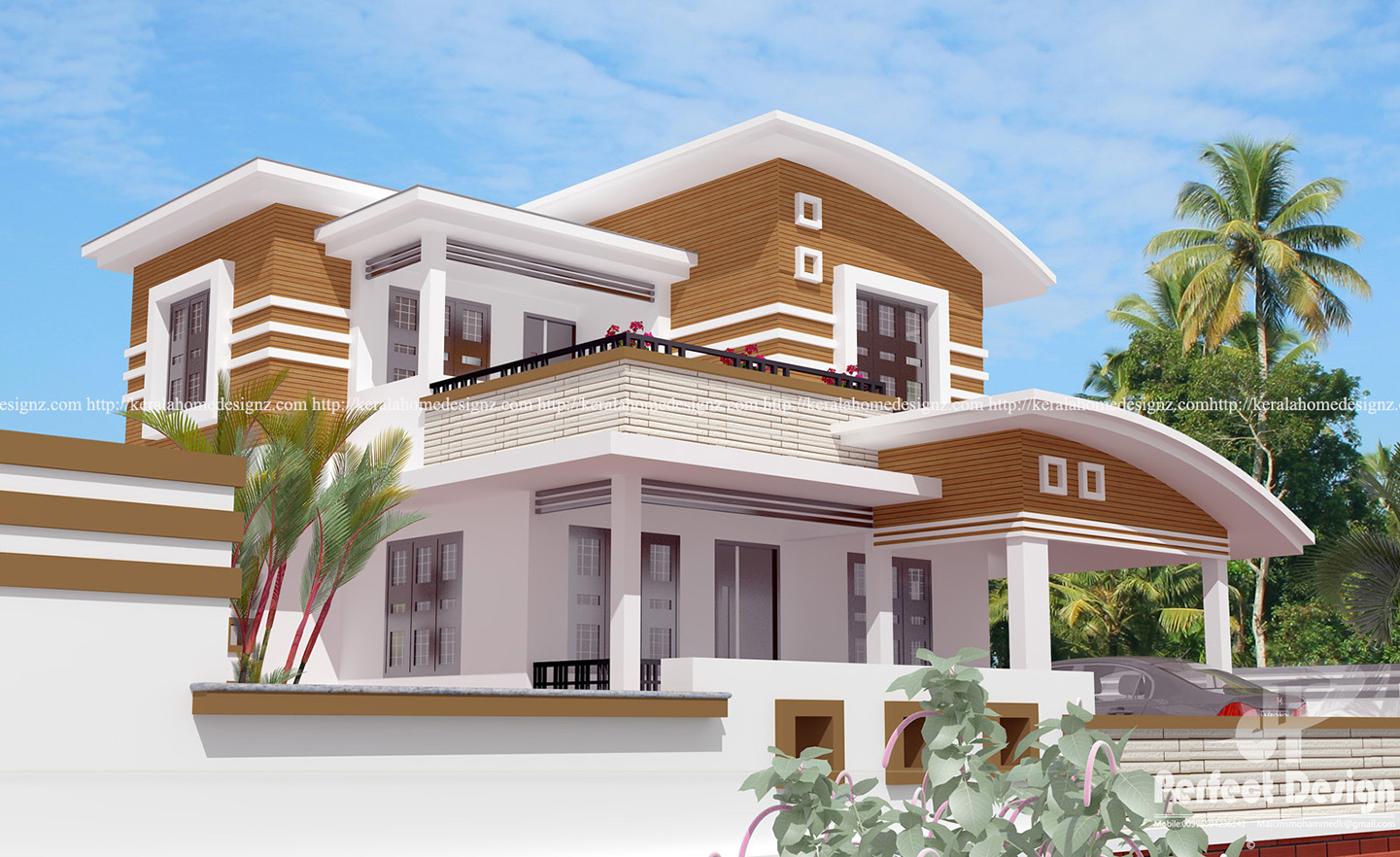 4 bedroom curved roof mix contemporary home kerala home for Curved roof house plans